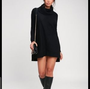 Sophisticated sweater Dress with cowl neckline